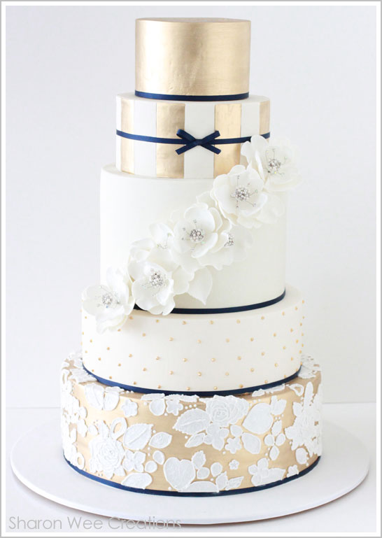 navy blue gold and white wedding cake wedding theme navy muted gold peoniesandpancakes 17768