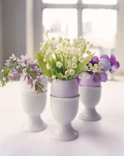 flowers in eggshells