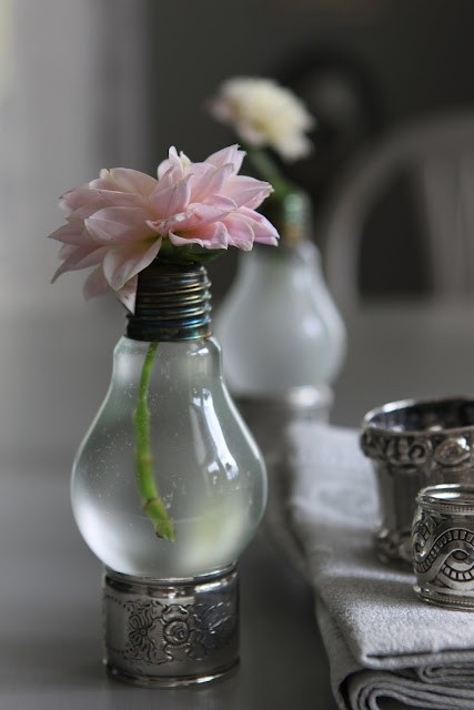 flowers in lightbulb