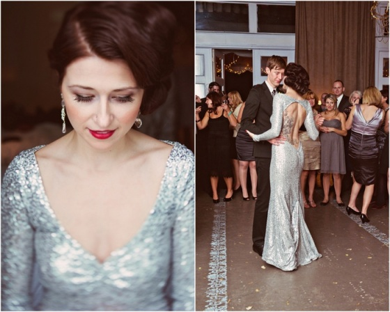 silver sparkly wedding dress