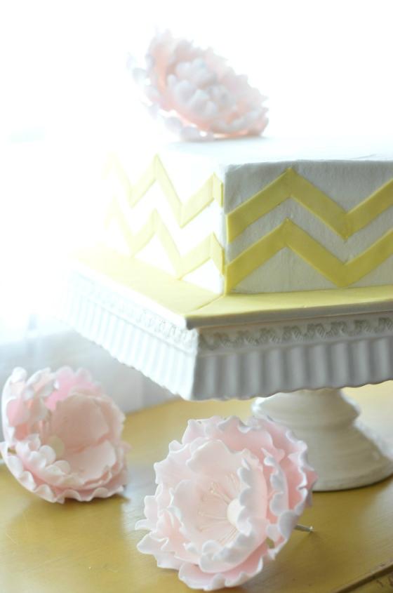 chevron and peonies cake