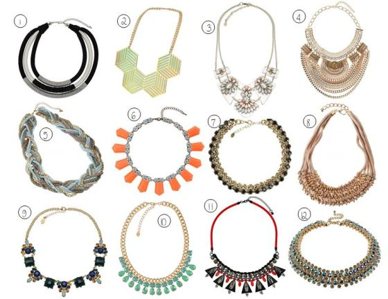 collection of statement necklaces