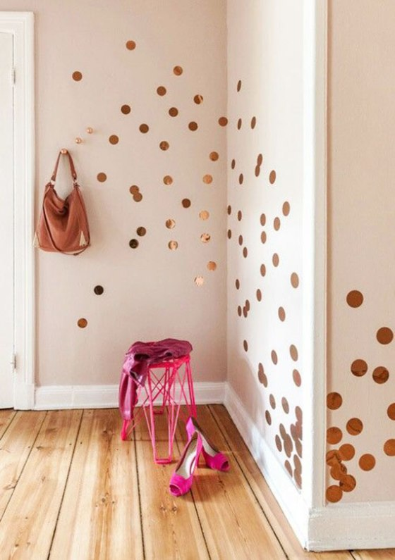 gold-polka-dots-on-wall