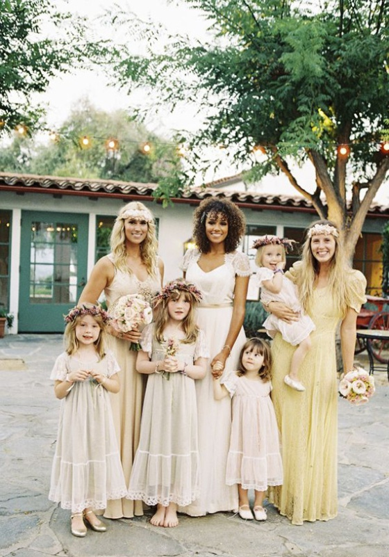 bohemian wedding - bridal party1